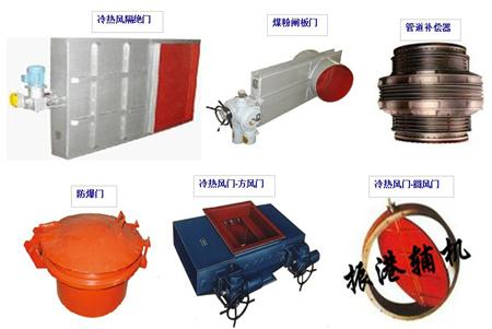 冷热风隔绝门、煤粉闸板门、管道补偿器、防爆门、冷热风门-方风门、冷热风门-圆风门